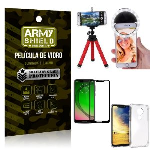 Kit Mini Tripé + Selfie Ring Light Moto G7 Play + Capa Anti Impacto + Película Vidro 3D