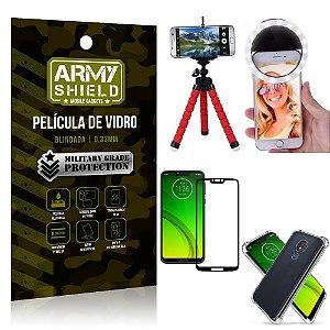 Kit Mini Tripé + Selfie Ring Light Moto G7 Power + Capa Anti Impacto + Película Vidro 3D