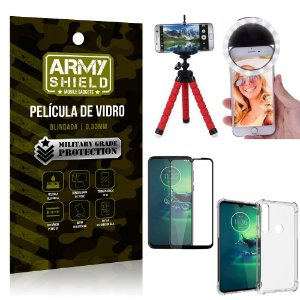Kit Mini Tripé + Selfie Ring Light Moto G8 Play + Capa Anti Impacto + Película Vidro 3D