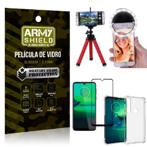 Kit Mini Tripé + Selfie Ring Light Moto G8 Plus + Capa Anti Impacto + Película Vidro 3D