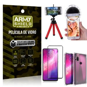 Kit Mini Tripé + Selfie Ring Light Moto One Hyper + Capa Anti Impacto + Película Vidro 3D