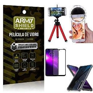 Kit Mini Tripé + Selfie Ring Light Moto One Macro + Capa Anti Impacto + Película Vidro 3D