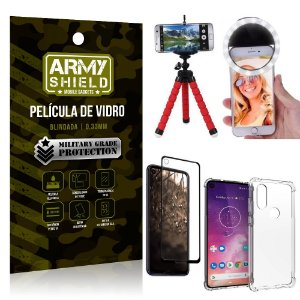 Kit Mini Tripé + Selfie Ring Light Moto One Vision + Capa Anti Impacto + Película Vidro 3D