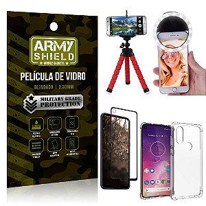 Kit Mini Tripé + Selfie Ring Light Moto One Vision + Capa Anti Impacto + Película Vidro 3D