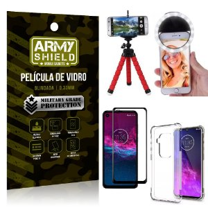 Kit Mini Tripé + Selfie Ring Light Moto One Zoom + Capa Anti Impacto + Película Vidro 3D