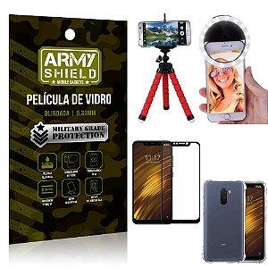 Kit Mini Tripé + Selfie Ring Light Pocophone F1 + Capa Anti Impacto + Película Vidro 3D