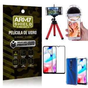 Kit Mini Tripé + Selfie Ring Light Redmi 8 + Capa Anti Impacto + Película Vidro 3D