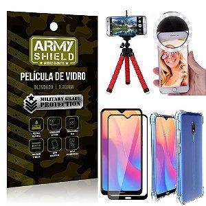 Kit Mini Tripé + Selfie Ring Light Redmi 8A + Capa Anti Impacto + Película Vidro 3D