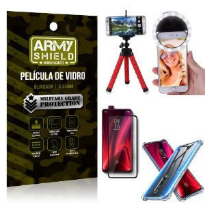 Kit Mini Tripé + Selfie Ring Light Redmi K20 Mi 9T + Capa Anti Impacto + Película Vidro 3D