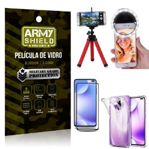 Kit Mini Tripé + Selfie Ring Light Redmi K30 + Capa Anti Impacto + Película Vidro 3D