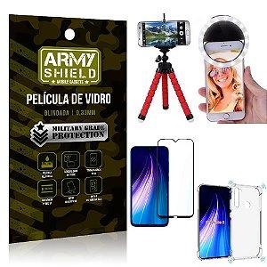 Kit Mini Tripé + Selfie Ring Light Redmi Note 8 + Capa Anti Impacto + Película Vidro 3D
