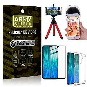 Kit Mini Tripé + Selfie Ring Light Redmi Note 8 Pro + Capa Anti Impacto + Película Vidro 3D
