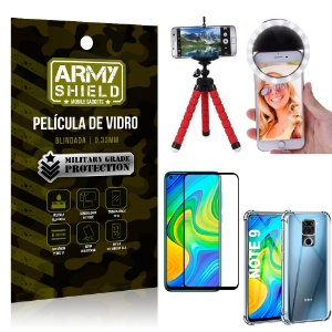 Kit Mini Tripé + Selfie Ring Light Redmi Note 9 + Capa Anti Impacto + Película Vidro 3D