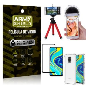 Kit Mini Tripé + Selfie Ring Light Redmi Note 9 Pro + Capa Anti Impacto + Película Vidro 3D