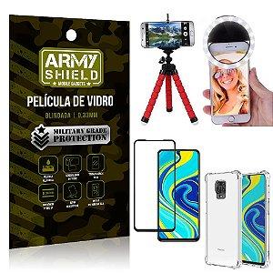 Kit Mini Tripé + Selfie Ring Light Redmi Note 9 Pro + Capa Anti Impacto + Película Vidro 3D