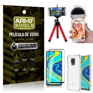 Kit Mini Tripé + Selfie Ring Light Redmi Note 9S + Capa Anti Impacto + Película Vidro 3D