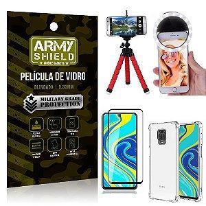 Kit Mini Tripé + Selfie Ring Light Redmi Note 9S + Capa Anti Impacto + Película Vidro 3D