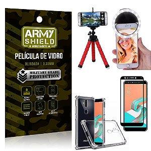 Kit Mini Tripé + Selfie Ring Light Zenfone 5 Selfie ZC600KL + Capa Anti Impacto +Película Vidro 3D