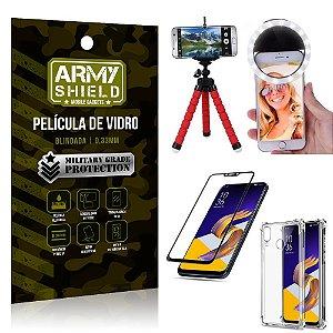 Kit Mini Tripé + Selfie Ring Light Zenfone 5 ZE620KL + Capa Anti Impacto +Película Vidro 3D