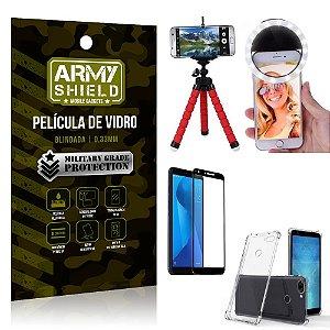 Kit Mini Tripé + Selfie Ring Light Zenfone Max Plus M1 ZB570TL + Capa Anti Impacto + Película 3D