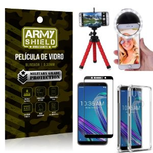Kit Mini Tripé + Selfie Ring Light Zenfone Max Pro M1 ZB602KL + Capa Anti Impacto + Película 3D