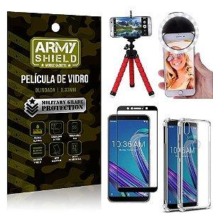 Kit Mini Tripé + Selfie Ring Light Zenfone Max Pro M1 ZB602KL + Capa Anti Impacto + Película 3D