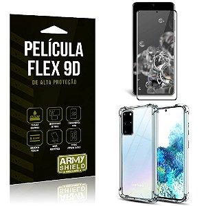 Capa Anti Impacto + Película Flex 9D Cobre a Tela Toda Blindada Galaxy S20 Plus - Armyshield