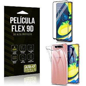 Capa Anti Impacto + Película Flex 9D Cobre a Tela Toda Blindada Galaxy A80 - Armyshield