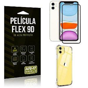 Capa Anti Impacto + Película Flex 9D Cobre a Tela Toda Blindada iPhone 11 6.1 - Armyshield