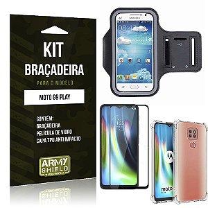 Kit Braçadeira Moto G9 Play Braçadeira + Capinha Anti Impacto + Película de Vidro 3D - Armyshield