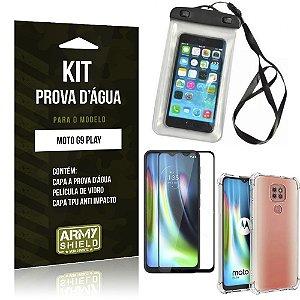 Kit Prova D'água Moto G9 Play Capinha Prova D'água + Capinha Anti Impacto + Película 3D - Armyshield