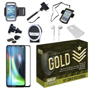 Kit Gold Moto G9 Play com 8 Acessórios - Armyshield
