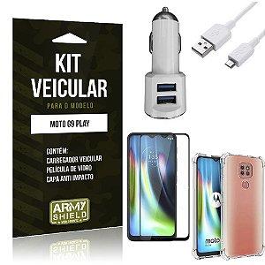 Kit Carregador Veicular Tipo C Moto G9 Play + Capa Anti Impacto + Película Vidro 3D - Armyshield