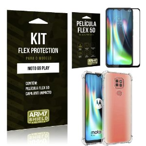 Kit Flex Protection Moto G9 Play Capa Anti Impacto + Película Flex 5D - Armyshield