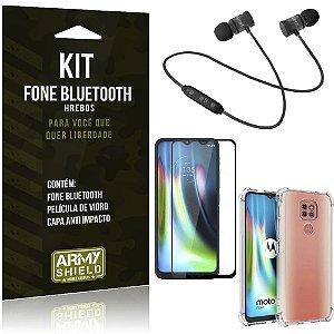 Kit Fone Bluetooth Moto G9 Play + Capa Anti Impacto + Película Vidro 3D - Armyshield