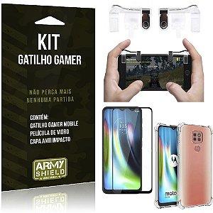 Kit Gatilho Gamer Moto G9 Play Gatilho + Capa Anti Impacto + Película Vidro 3D - Armyshield