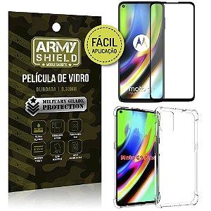 Kit Película 3D Fácil Aplicação Moto G9 Plus Película 3D + Capa Anti Impacto - Armyshield