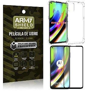 Kit Anti Impacto Moto G9 Plus Capinha Anti Impacto + Película de Vidro 3D - Armyshield