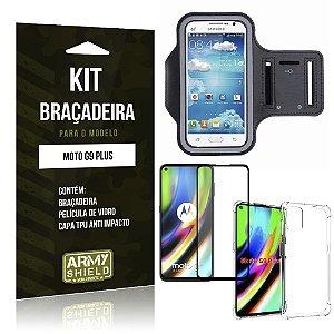 Kit Braçadeira Moto G9 Plus Braçadeira + Capinha Anti Impacto + Película de Vidro 3D - Armyshield