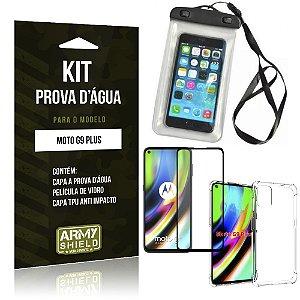 Kit Prova D'água Moto G9 Plus Capinha Prova D'água + Capinha Anti Impacto + Película 3D - Armyshield