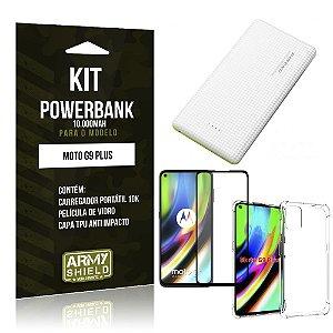 Kit Carregador Portátil 10K Tipo C Moto G9 Plus + Capa Anti Impacto +Película Vidro 3D - Armyshield