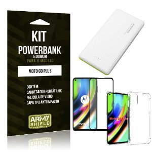 Kit Carregador Portátil 5K Tipo C Moto G9 Plus + Capa Anti Impacto +Película Vidro 3D - Armyshield