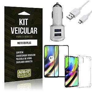 Kit Carregador Veicular Tipo C Moto G9 Plus + Capa Anti Impacto + Película Vidro 3D - Armyshield