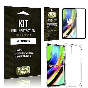 Kit Full Protection Moto G9 Plus Película de Vidro 3D + Capa Anti Impacto - Armyshield