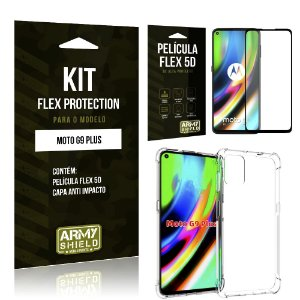 Kit Flex Protection Moto G9 Plus Capa Anti Impacto + Película Flex 5D - Armyshield