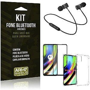 Kit Fone Bluetooth Hrebos Moto G9 Plus + Capa Anti Impacto + Película Vidro 3D - Armyshield