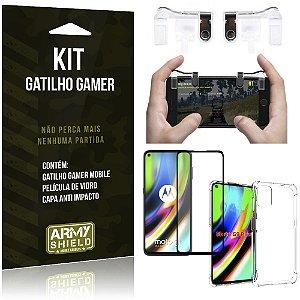 Kit Gatilho Gamer Moto G9 Plus Gatilho + Capa Anti Impacto + Película Vidro 3D - Armyshield