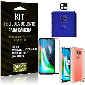 Kit Película de Câmera Moto G9 Play + Película 3D + Capa Anti Impacto - Armyshield