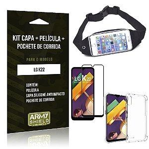 Kit Pochete LG K22 Pochete + Capinha Anti Impacto + Película de Vidro 3D - Armyshield