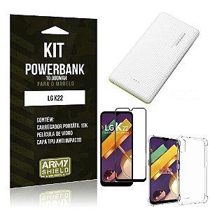Kit Carregador Portátil 10K LG K22 + Capa Anti Impacto +Película Vidro 3D - Armyshield